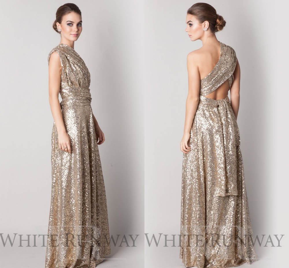 52588e97e6fb5 2016 Gold Sequins Maid Of Honor Bridesmaid Dresses A Line Gold prom dresses  Wedding Party Dresses Plus size cheap dresses F673-in Bridesmaid Dresses  from ...
