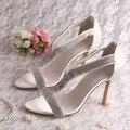 (20 Cores) Novo Modelo de Moda Feminina Desgaste Do Partido Sandálias de Salto Alto Strass Casamento 9 CM