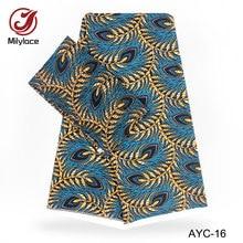 Digital print Satin material African wax design fabric 2 in 1 hot selling yards Chiffon+4 AYC-16