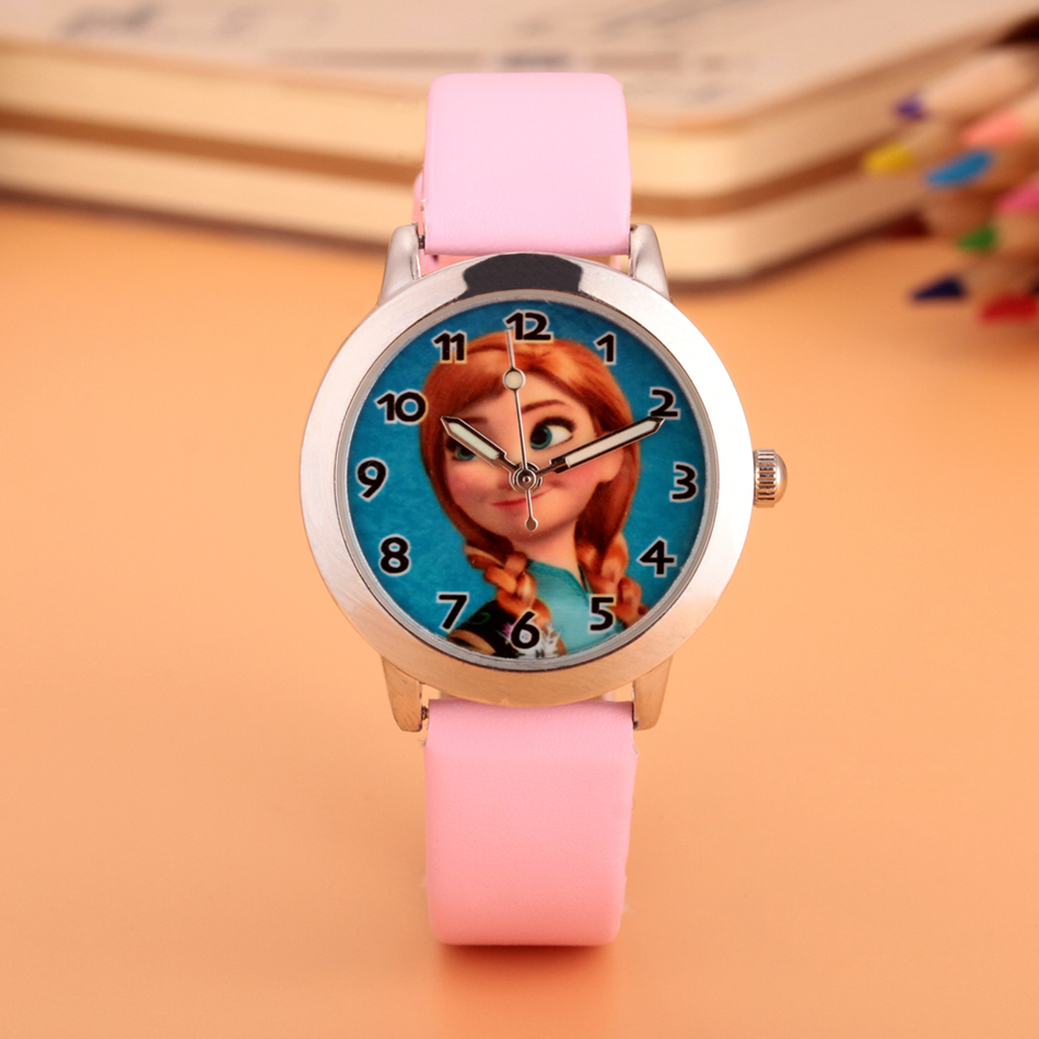 2017 Cartoon Brand Children Watch Princess Elsa Anna Watches Fashion Girl Kids Cute Leather Quartz WristWatch Clock Gift relojes disney frozen elsa anna princess best rhinestone watch pretty girls fashion casual quartz watches kid leather 54055 snowflake
