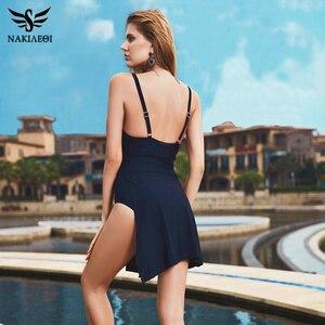 Image 4 - NAKIAEOI 2019 Plus Size Badmode Een Stuk Badpak Vrouwen Summer Beach Wear Vintage Retro Hoge Taille Badpak Jurk Zwart