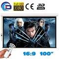 100 '' 16:9 de alta qualidade tela de projeção elétrica pantalla proyeccion para LED LCD HD filme tela de projeção motorizada