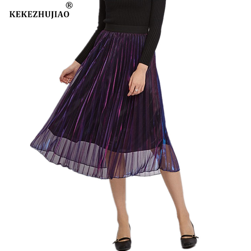 Fashion Metallic Gradient Pleated Skirt High Waist Mid-Calf Elastic Waist Party Skirt Club Ladies Fenimias Spring Summer 2018