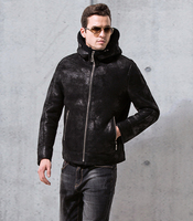 Men's luxury genuine leather short wool coat natural shearing sheepskin bomber jacket pilot for male with a hood hat black 4xl