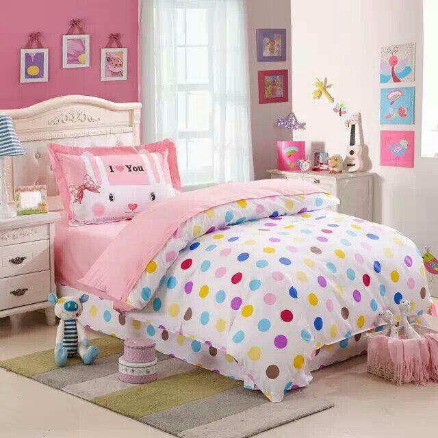 Polka Dots Rabbit Kids Girl Bedding Set Includes Quilt