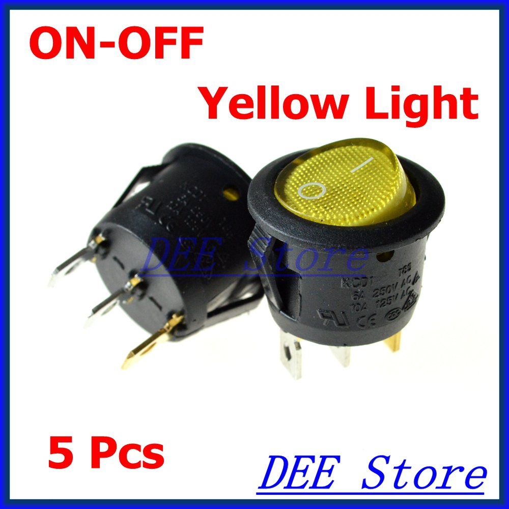Ac 6a 250v 10a Yellow Neon Light Spst On Off Round Rocker Switch Switches Relays 5 Pcs