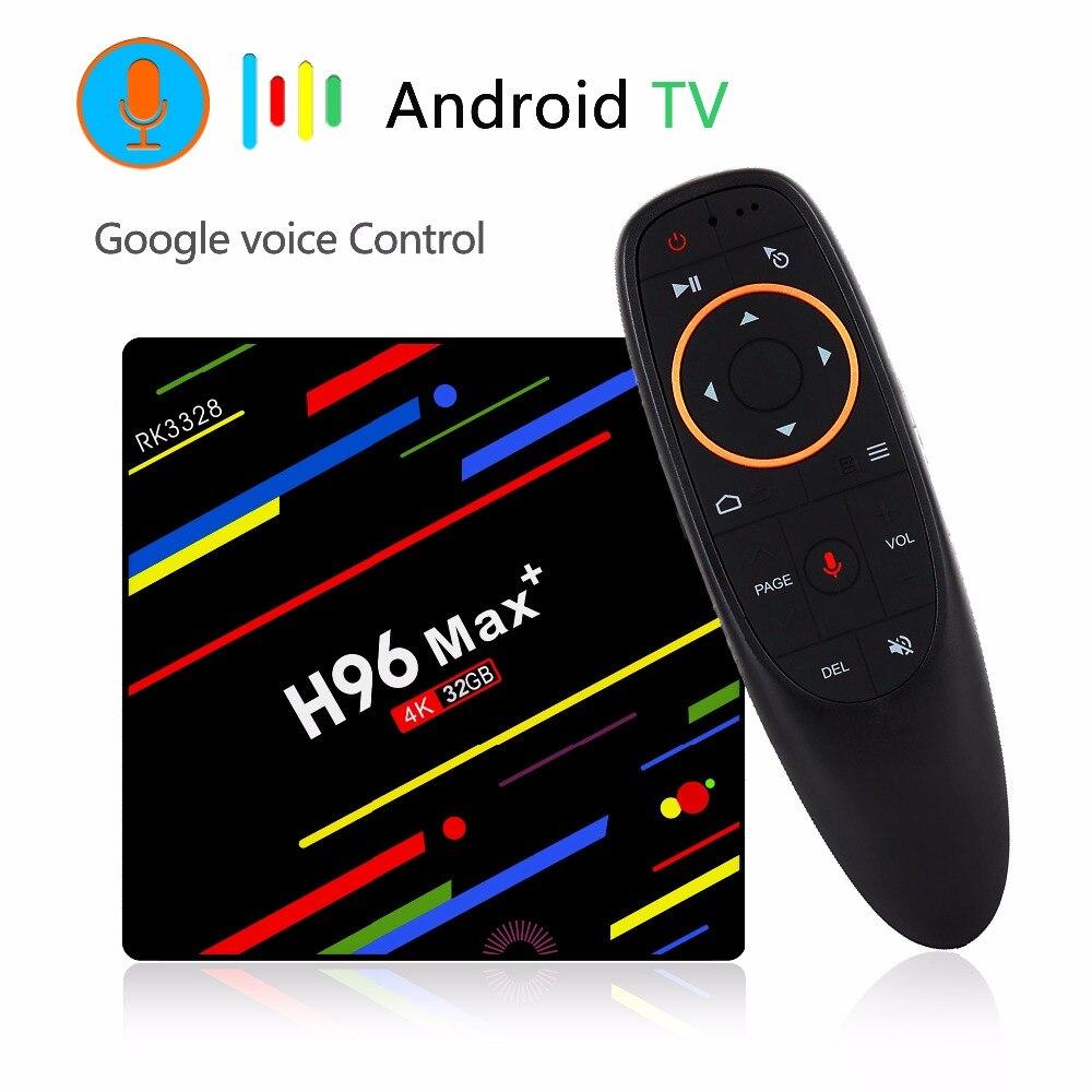 H96 MAX+ Google Voice Control Smart TV BOX Android 8.1 Rockchip RK3328 4GB 32GB/64GB Streaming Google Play Netflix HD Youtube chris dannen google voice for dummies