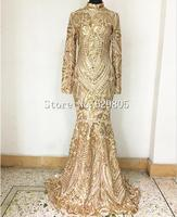Gold Sequins Pattern Party Dress Sexy Costume Celebrate long Dress Female Singer Stage Nightclub Performance Long Sleeves Wear
