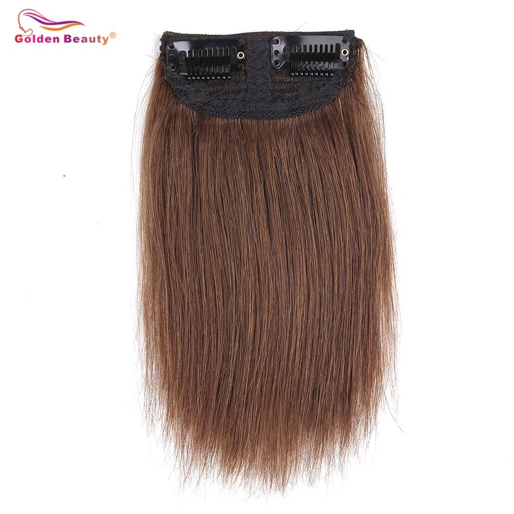 6inch Short Straight Clip In Synthetic Hair Extensions One Piece False Hair Hairpiece Brown Black For Women Golden Beauty