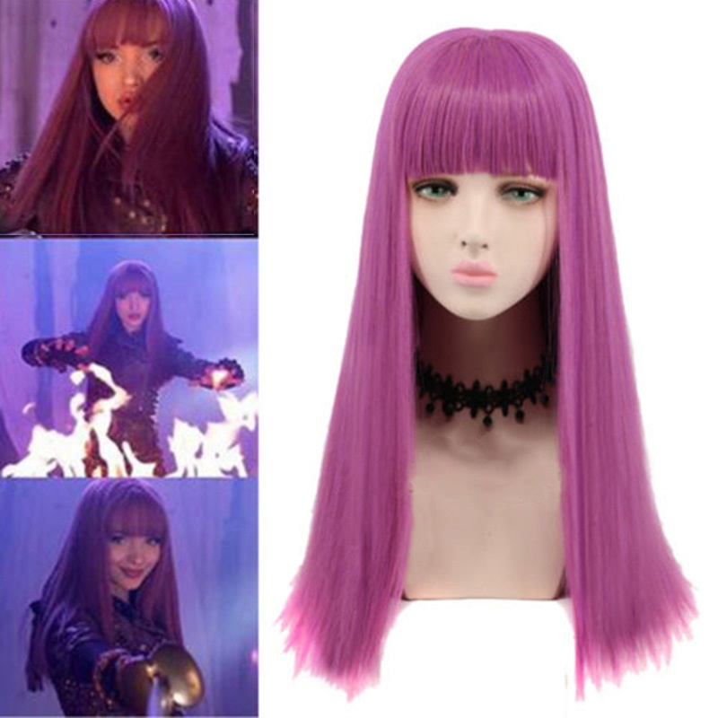 65cm Descendants 2 Mal Bertha Maleficent Long Live Evil Purple Heat Resistant Synthetic Hair Perucas Cosplay Wig + Wig Cap