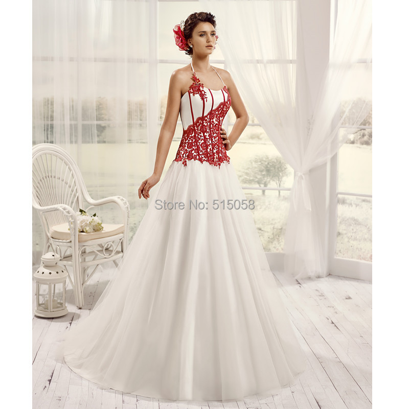 Online Shop Vintage Victorian Gothic Style Lace Appliques Sweetheart Red And White Wedding Dresses Princess 2016 Robe De Mariage Sexy