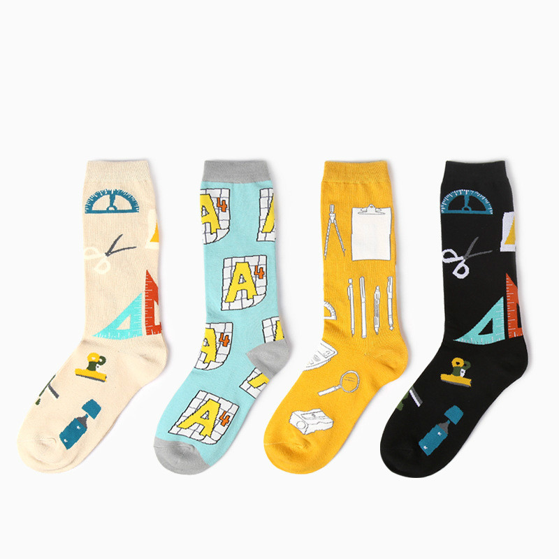Fashion Math Stationery Pattern Men And Women Cotton Socks Calculator Harajuku Novelty Fun Design Black Funny Man Socks Sokken