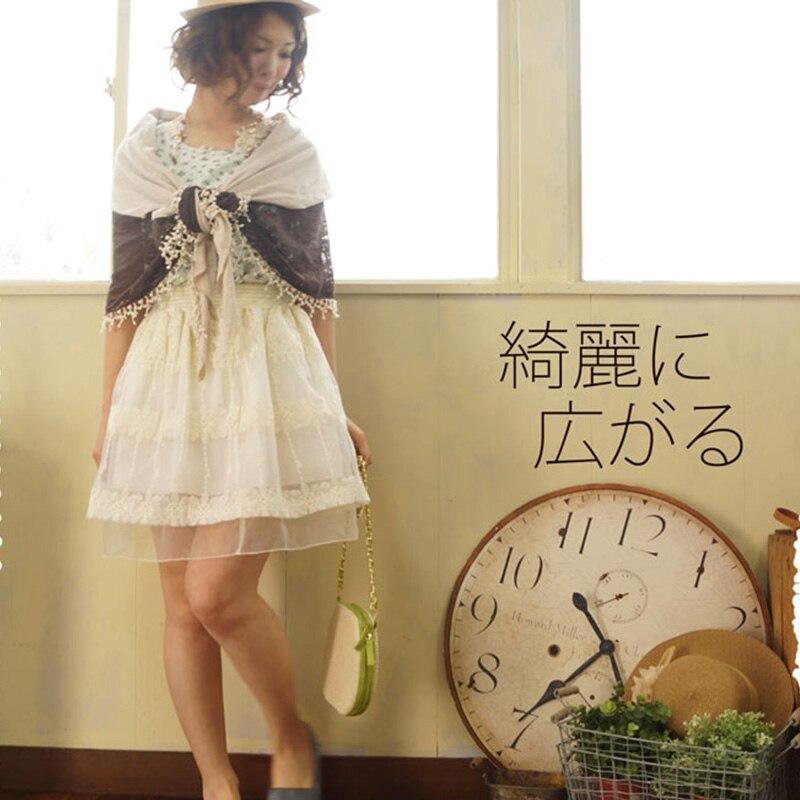 Harajuku Mori chica mujeres encaje volantes falda verano Casual Floral bordado capa de encaje Vestido princesa faldas A203-in Faldas from Ropa de mujer    3
