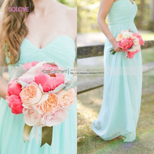 Floor Length Mint Green Beach Bridesmaid Dress Off The Shoulder Chiffon Pleat Bridesmaid Dress vestido de dama de honor (SL-B72)