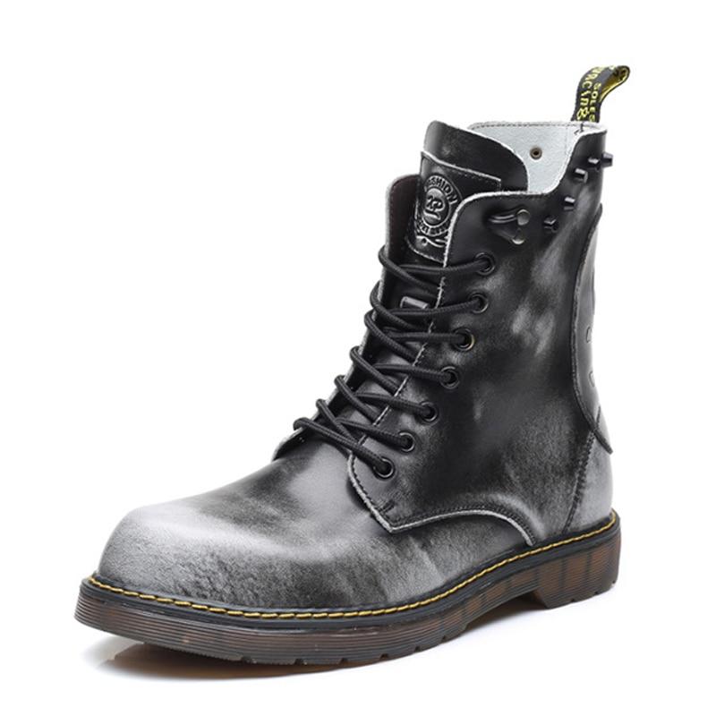 Hommes 38 47 En Chaussures Bottes Jusqu'à Vintage Dentelle Vache gray brown Véritable Cheville Moto Cuir Black Martin Plus La Taille Automne Fonirra Noir 900 YZcp407Ow