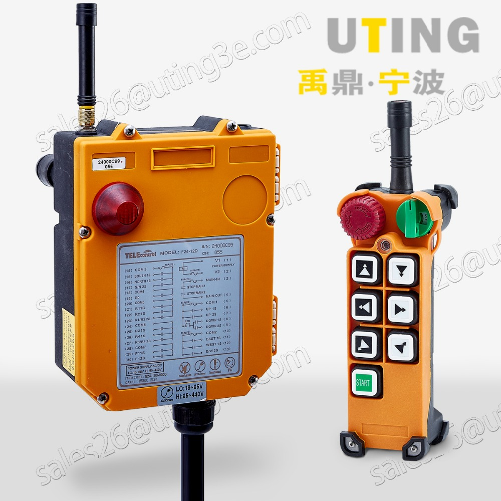 Telecontrol F24 6D industrial radio remote control AC DC universal wireless control for crane 1transmitter and