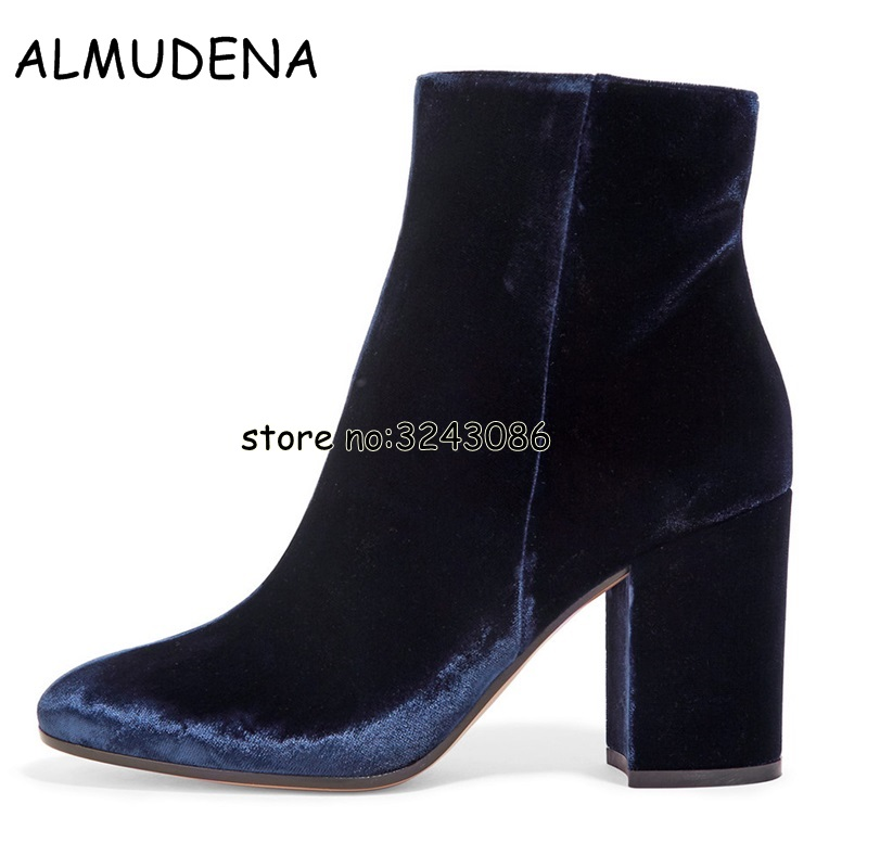 Velvet Round Toe Lady Sexy Ankle Booties Chunky Heels Woman Fashion Short Boots Blue Green Black High Heels Shoes Plus Size 45 yanicuding round toe women flock ankle booties metal short boots zip design luxury brand fashion runway star autumn shoes flats