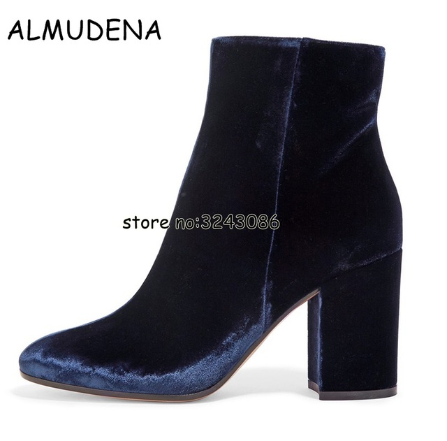 14ded61c5b77 Velvet Round Toe Lady Sexy Ankle Booties Chunky Heels Woman Fashion Short  Boots Blue Green Black High Heels Shoes Plus Size 45