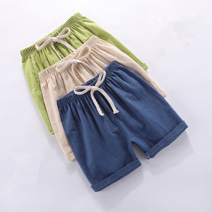 Image 2 - Kids Shorts Summer Baby Boys Girls Beach Short Candy Color Toddler Cotton Linen Loose Shorts Casual Pants Clothing For 3 9Yrs