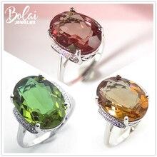 Bolai 18*13mm büyük Diaspore kokteyl yüzüğü 925 ayar gümüş renk değişimi taş Zultanite mücevherat kadınlar için noel hediyesi