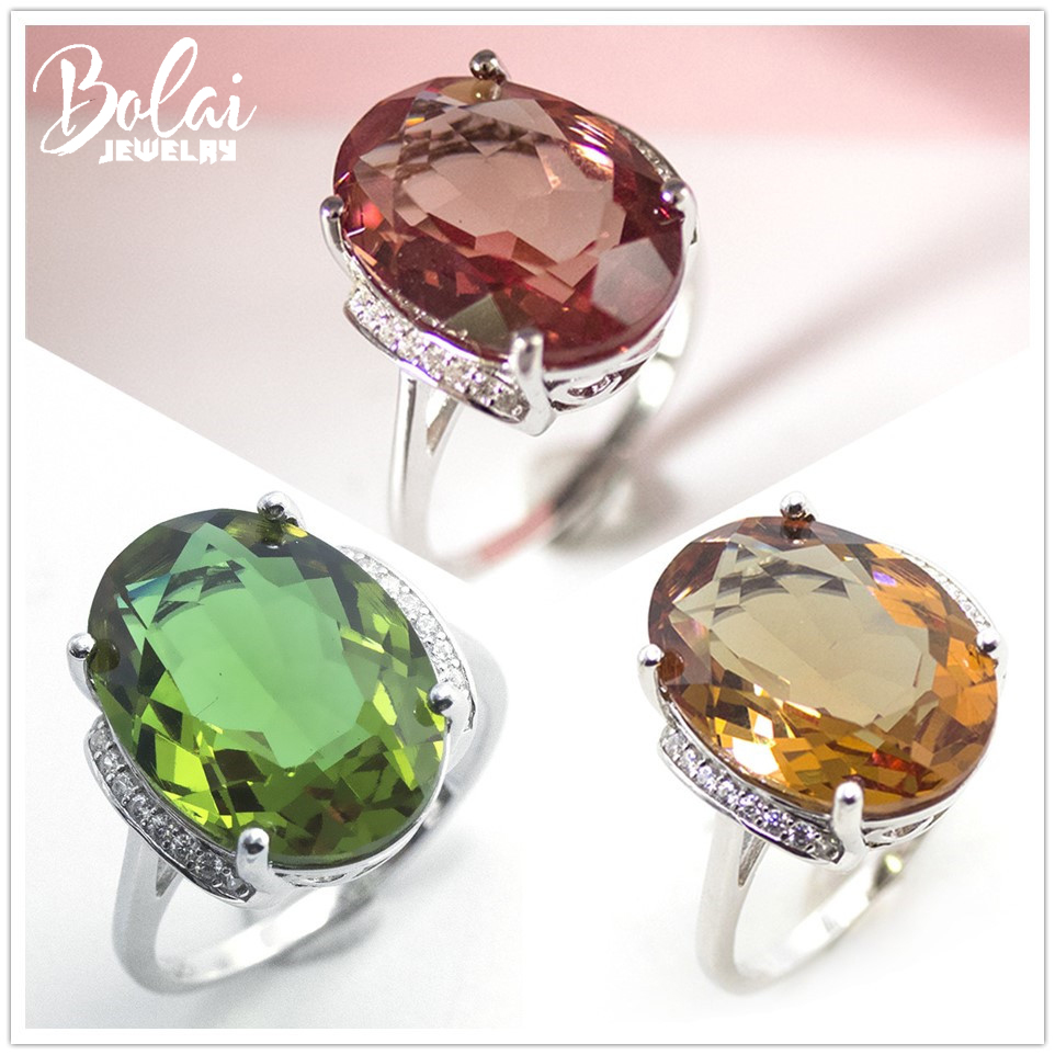 Bolai 18x13mm Big Diaspore Cocktail Ring 925 Sterling Silver Color Change Gemstone Zultanite Fine Rings Jewelry For Women 2019