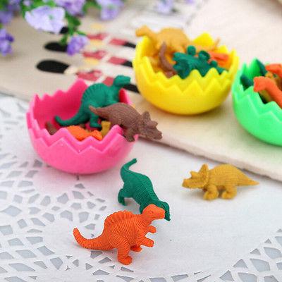 8Pcs Mini Kawaii Dinosaur Egg Pencil Rubber Eraser Stationery Student with G5F4