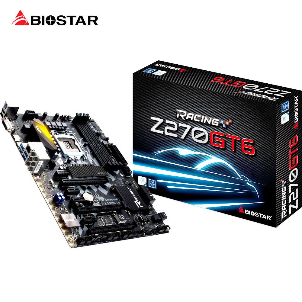 Biostar z270gt6 игры светодиод материнская плата lga 1151 для Intel i5 i7 7700 К 7500 6600 ATX Racing DDR4 64 г 9 фазы Питание компьютер