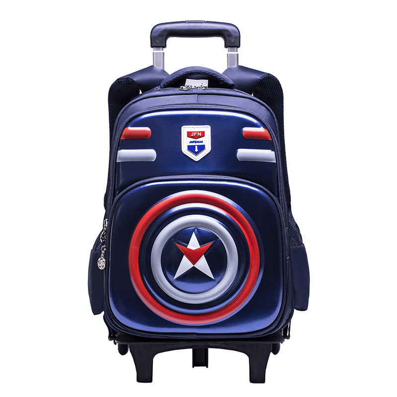 3d Waterproof Luggage 5-10 Year School Bag On Wheels Students Knapsack Casual Rolling Suitcase Children Travel Wheeled Backpack