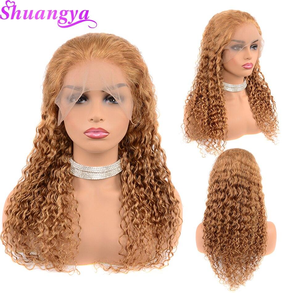 蜂蜜ブロンド人毛レースフロントかつら黒人女性のための 150% 密度色 27 ディープウェーブ人毛ウィッグ 13 × 4 Shuangya の Remy 毛  グループ上の ヘアエクステンション & ウィッグ からの 人毛レースウィッグ の中 3