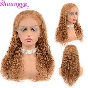 Image 3 - Parrucche frontali in pizzo biondo miele per donne nere 150% densità colore 27 parrucche a onde profonde per capelli umani 13X4 Shuangya Remy