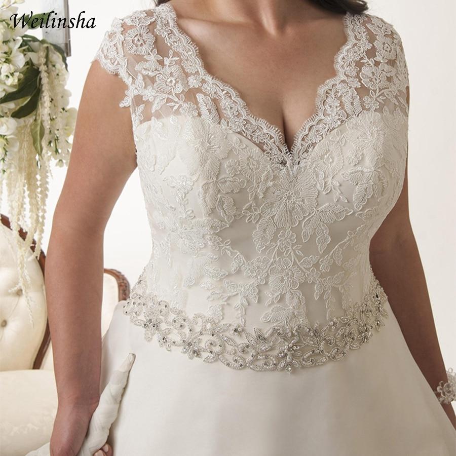 Image 3 - Weilinsha New Arrival Plus Size Wedding Dress Cap Sleeve Beaded Belt Organza Bridal Gowns Vestidos De Novia Backless-in Wedding Dresses from Weddings & Events