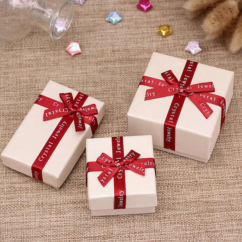DoreenBeads Jewelry Boxes Paper Beige Color Red Ribbon Bowknot For Jewelry Packing Display Gift Necklace Earring Box, 1 Piece