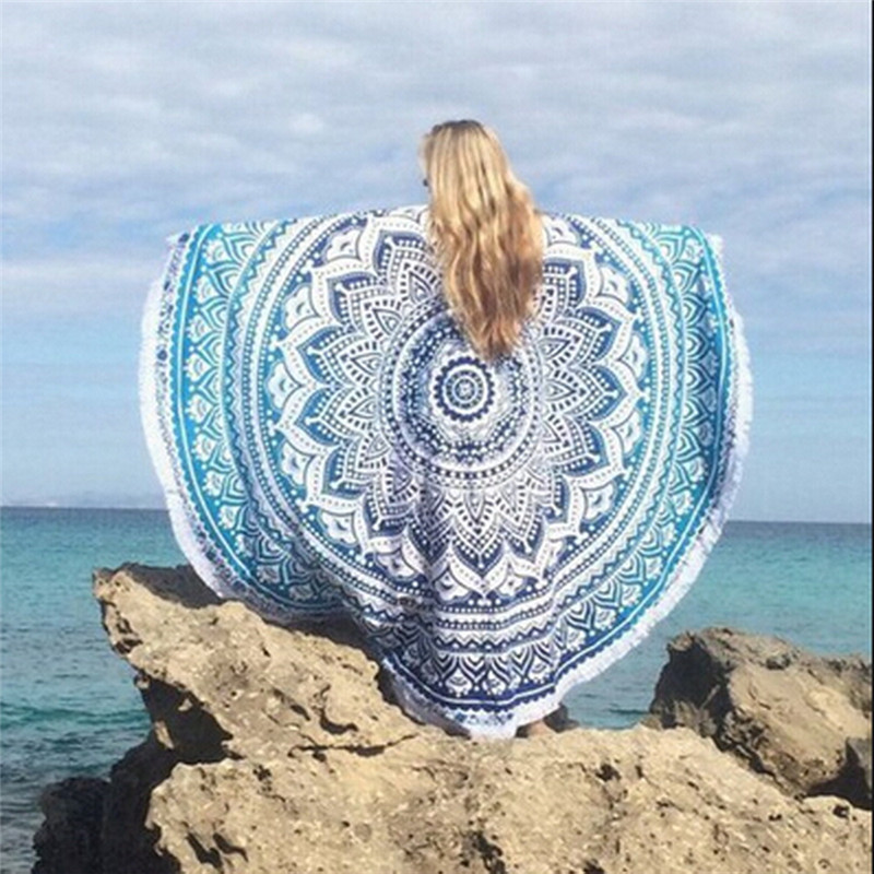 towel est Women Beach Gypsy Bikini Cover Up Scarf Round Beach Towel Bohemia Scarves Cotton shawl Table Cloth Mat Cloth 7 Colors
