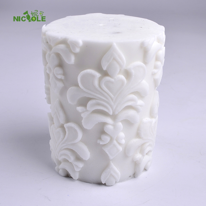3D Silicone Soap Candle Mold Klassisk Relief Cylinder Mould för handgjorda Craft Cake Decoration Tool