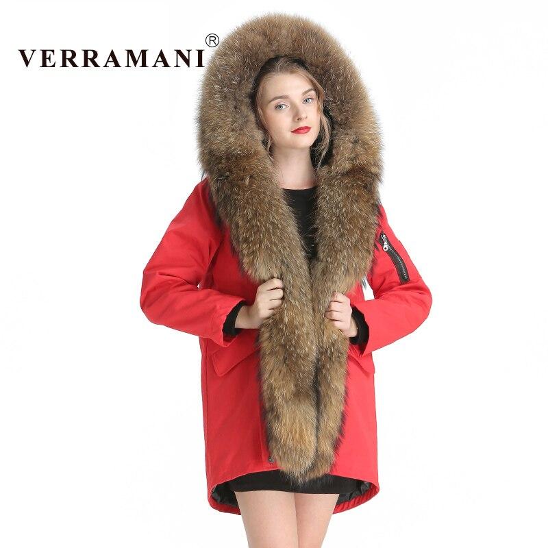 Verramani Hiver noir Laveur Épaisse Femelle ivoire Manteau argent rouge Chien Femmes Réel De army blanc Beige camel Pardessus Fourrure Casual Green Chaud Veste Raton Parka rrdqAg