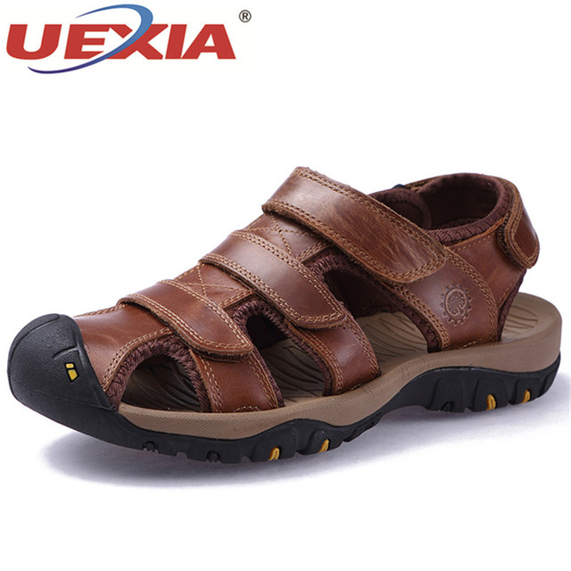 2c7378a0142314 UEXIA Summer Mens Shoes Handmade Leather Sandals Men s Leather Casual Shoes  Mature Men Beach Slippers Walking Zapatos Sandalias