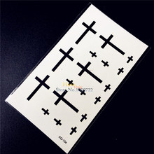 Latin Cross Temporary Waterproof Tattoo Black Ink Calvaire Fake Flash Tattoo Sticker Women Men Makeup Body Art Arm Shoulder Neck
