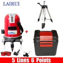LAIRUI марка 5 линий 6 очков лазерный уровень 635nm 360 градусов ротари крест лазерной линии уровень с Наклоном Слэш Функция и штатив
