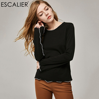 ESCALIER Women T Shirts Flare Long Sleeve Solid Color O Neck Casual T Shirt Female Tees