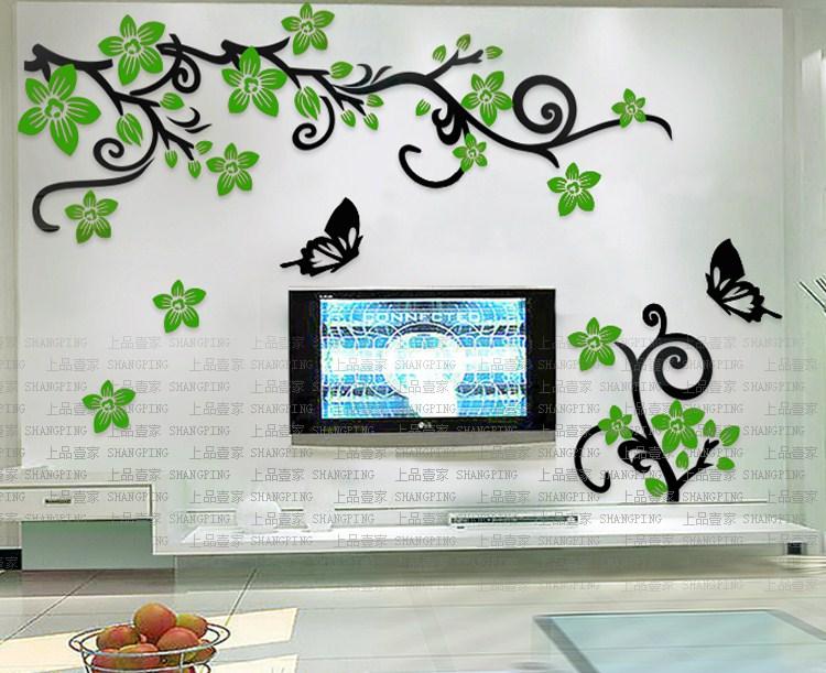 Acrylic Crystal Wall Decor: Romantic Flower Vine 3d Crystal Acrylic Three Dimensional