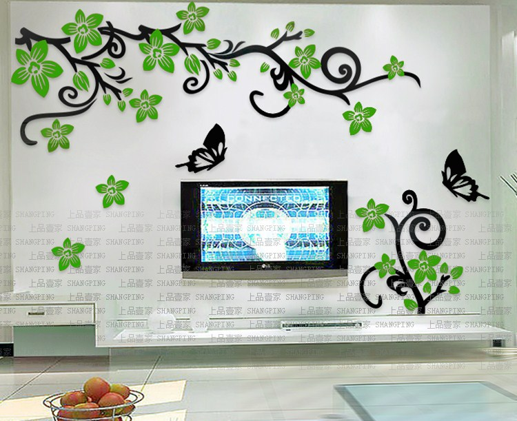 Romantic flower vine 3d crystal acrylic three dimensional wall stickers Living room tv wall home DIY decoration