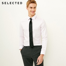 SELECTED Men's Slight Stretch Cotton-blend Pure Color Slim Fit Long-sleeved Shirt S|418105537