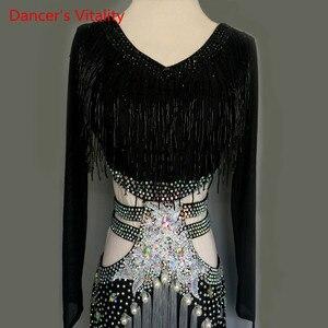 Image 3 - Women/GirlsLatin Dance Costumes Custom Diamond Beaded Tassel Dress long sleeves Latin Dance Stage Performance Clothing