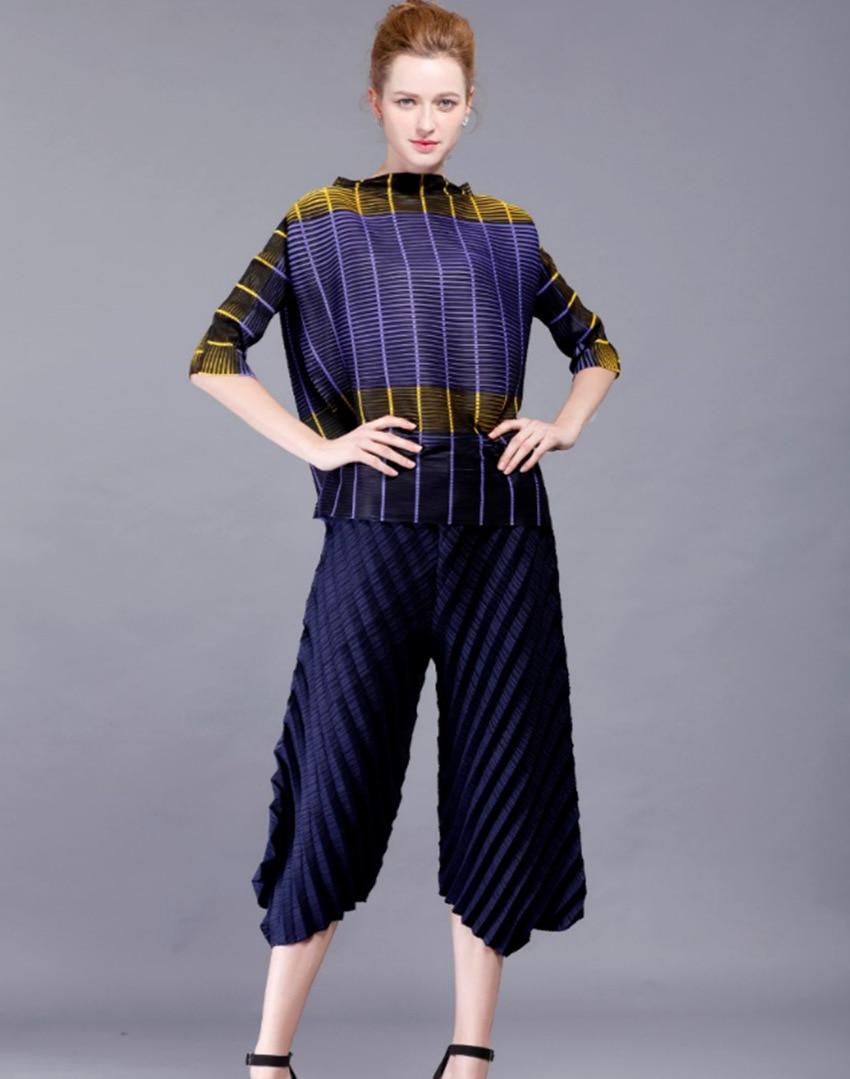 Printemps Cheville Lâche Bleu Nouveau Pantalon Plissée longueur Design Droit 2018 Élastique Occasionnel Pli Taille dn0XIdq