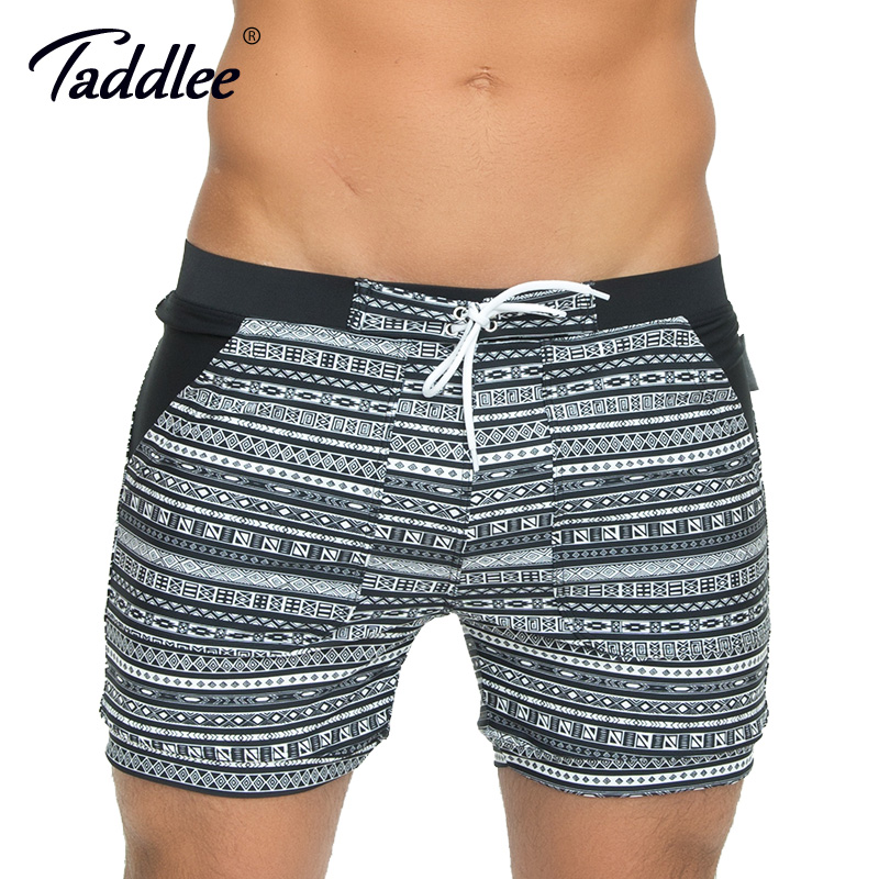 d26a005a96e38 Taddlee Brand Men's Swimwear Swimsuits Long Basic Traditional Swim Boxer  Trunks Surf Board Shorts Bathing Suits Big Size XXL