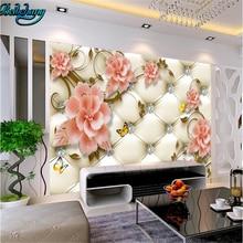 beibehang European soft bag diamond flower butterfly background wall custom wallpaper mural decoration