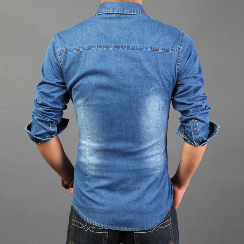 2722c09ef9 Fast Shipping 2017 Spring Wear Men Shirt Denim Color Wash Blue Long Sleeve  Shirt High Quality Denim Style Casual Mens-in Casual Shirts from Men s  Clothing ...