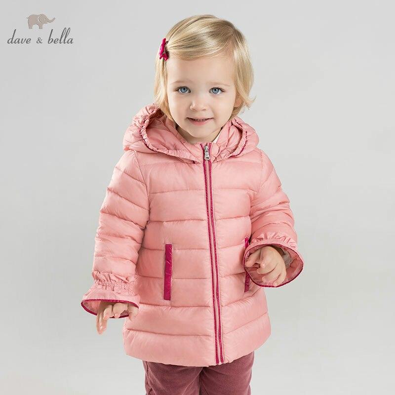 DB9632 dave bella baby girl winter Down jacket children 90% white duck down outerwear fashion coat