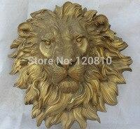 18' Chinese Famous Fengshui Folk Brass Guardion Lion Head Mask Statue sculpture