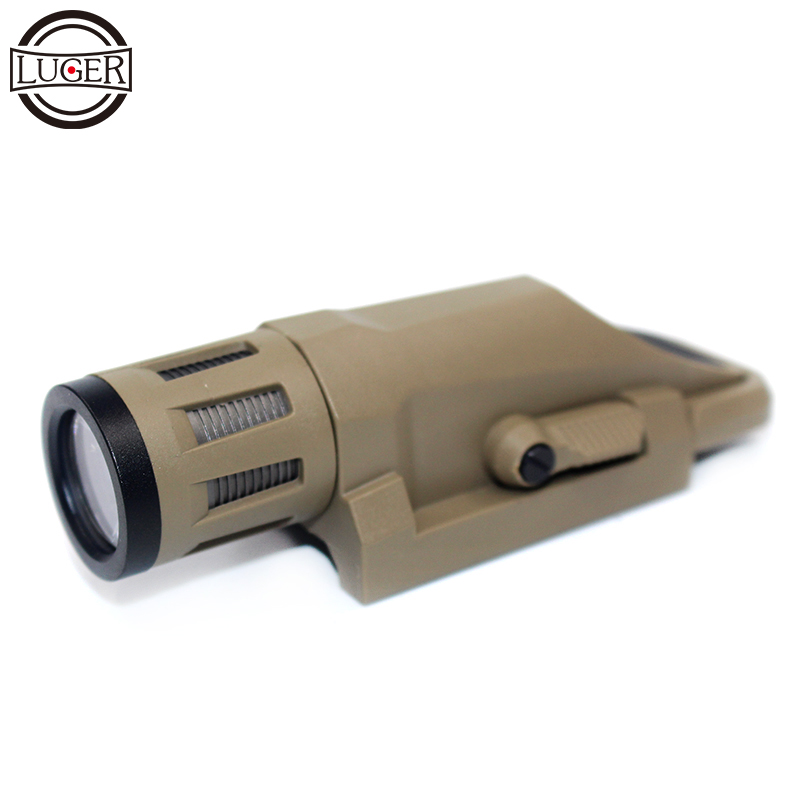 LUGER White LED 800 Lumen Tactical Rifle Flashlight Fit 20mm Picatinny Rail Rotating Clamp For Airsoft Hunting Weapon Lights